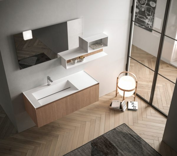 IKON 05 dimensioni / dimensions / dimensions L. 162 P. 50,2 H. 195cassa e frontali / structure and doors / caisson et façades Noce naturale Natural walnut Noyer natureltop / top / plan de toilette Deikon bianco White Deikon Deikon blancelementi a giorno / open cabinets / éléments ouverts Bianco opaco e noce naturale Matt white and natural walnut Blanc mat et noyer naturel
